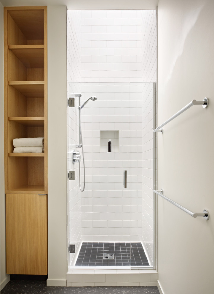 storage solution for small bathroom shelves towel racks wall storage shower midcentury room