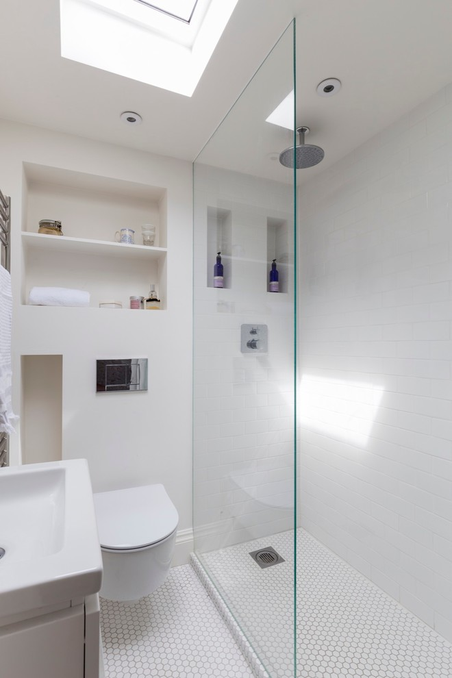 storage solution for small bathroom wall toilet shelf shower transitional room