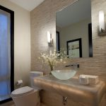 Textured Wall Wall Sconce Flower Arrangement Tiled Floor Glass Bowl Sink Floating Counter