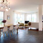Tile To Hardwood Transition Eedison Chandelier Adjustable Metal Floor Lamp White Eames Dowel Leg Side Chairs Black Slate Tile Dining Table Set Living Room