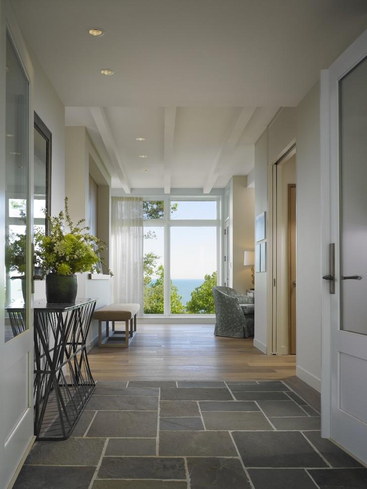 tile to hardwood transition gray stone tiles sliding glass door mid century modern cream bench white trim spectacular reflector trim antique bronze ceiling lamp