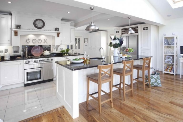 Tile To Hardwood Transition White Ceramic Light Wood Floor Kitchen Furniture With Black Top