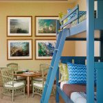 Toddler Bunk Bed Plans Blue Bunk Bed Children Rattan Chairs And Play Table Green And Blue Bedding Four Pictures Frame Wall Decoration