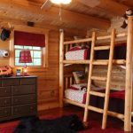 Toddler Bunk Bed Plans Cabin Log Bunk Beds Hot Pepper Trolley Line Hand Tufted Rectangle Rug Log Ladder Red Curtain Small Windows Dark Brown Drawers Unique Red Lamp