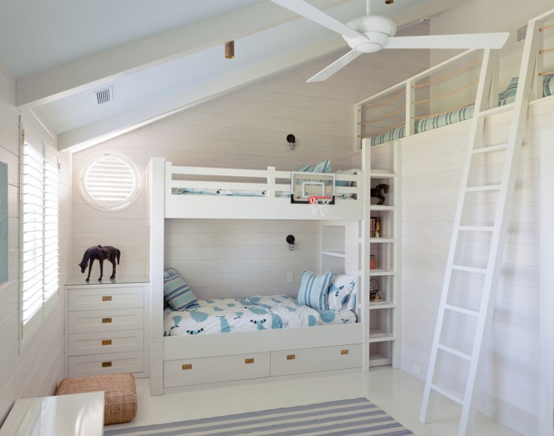 toddler bunk bed plans modern fan altus ceiling fan double loft white window shutter small and big ladder storage under the bed blue and white line rug