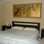 traditional japanese bed bedside tables painting pillows bedding asian bedroom