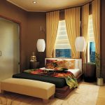 Traditional Japanese Bed Bench Carpet Bedding Pillows Lamps Decorative Plant Windows Curtains Ceiling Light Asian Bedroom