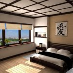 traditional japanese bed carpet pillows kanji character wall storage bedside tables window decorative plants books asian bedroom