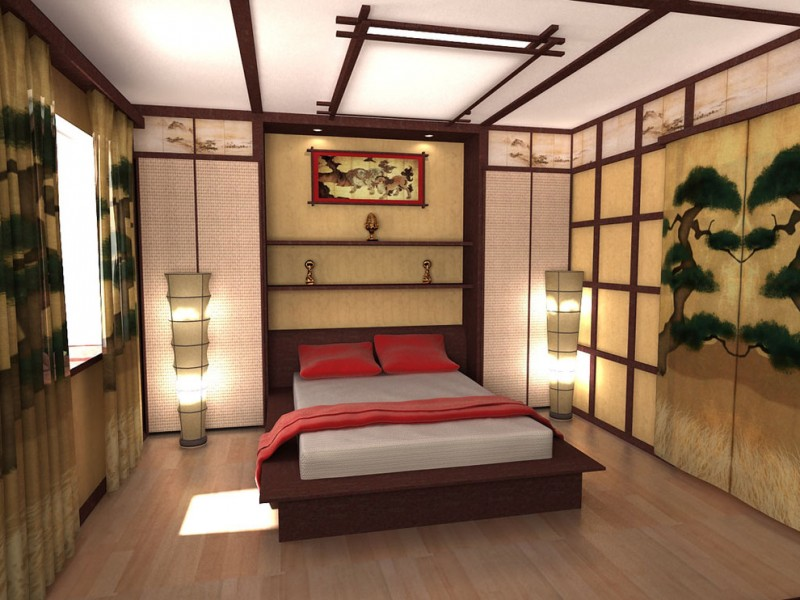 traditional japanese bed paintings curtains window pillows shelves cool lighting asian bedroom