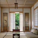 Traditional Japanese Bed Table Pillows Mat Tables Paintings Asian Living Room
