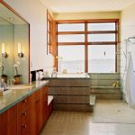 Transition Walk In Shower With Japanese Style Sit In Soaker Tub Brown Ceramic Tiles Wooden Cabinets Granite Countertop Glass Door