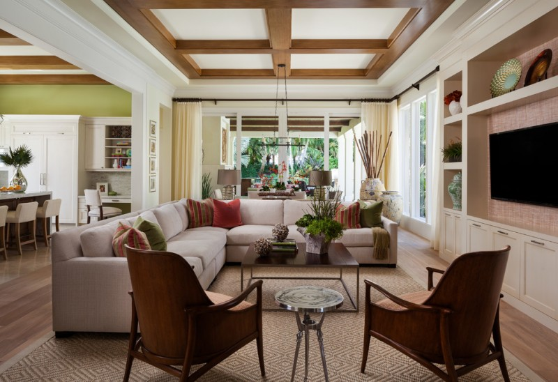 transitional living room with sectional sofa carpet pillows plates chairs tables decortive plants lamps windows