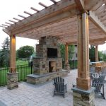 Transitional Patio With Cedar Pergola Natural Stone Pavers Fire Feature Grey Painted Wood Furniture Concrete Tiles Floors