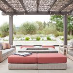 Transitional Patio With Modern Pergola Beautified With Mini Bulb Lighting Modern Outdoor Furniture Centered Fire Pit Table And Concrete Slab Floors