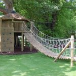 treehouses for kids climbing wall wood bridge rope balcony wall garden tropical design