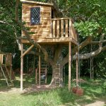 Treehouses For Kids Playset Swing Stairs Ladder Window Balcony Wood Exterior Roof Rustic Design