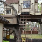 Treehouses For Kids Rope Ladder Door Gable Roof Windows Eclectic Design