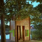 treehouses for kids wood exterior green framed windows door contemporary design