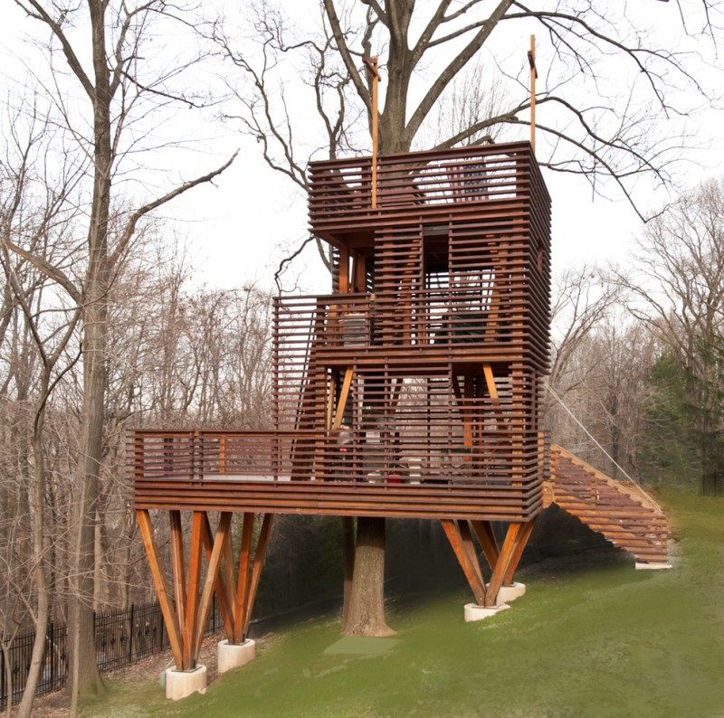 treehouses for kids wood stairs rooftop area porch contemporary design