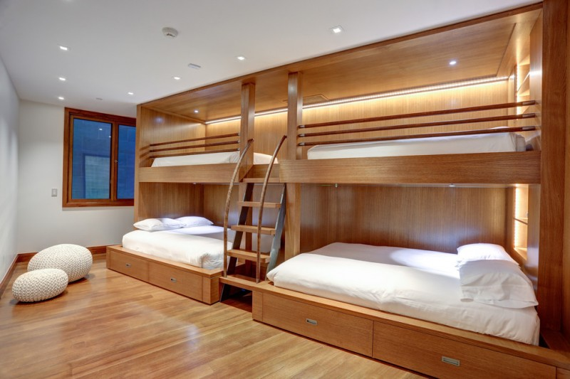 unde the bed storage beautiful floor window ceiling lights bunkbeds pillows stairs contemporary bedroom