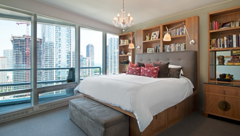 under the bed storage big windows pillows bookshelves cool lamps chandelier books contemporary bedroom