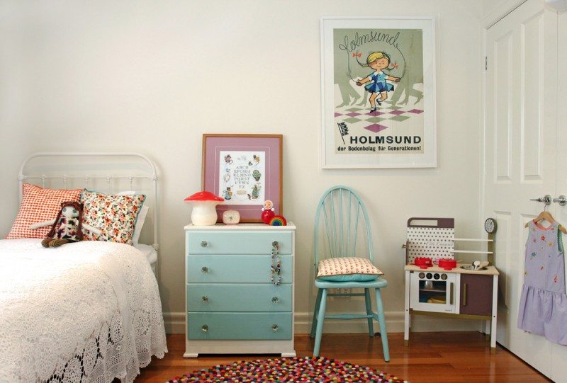 vintage bedroom with crochette bedspread, tosca wooden cabinet, tosca chair, colorful round rug