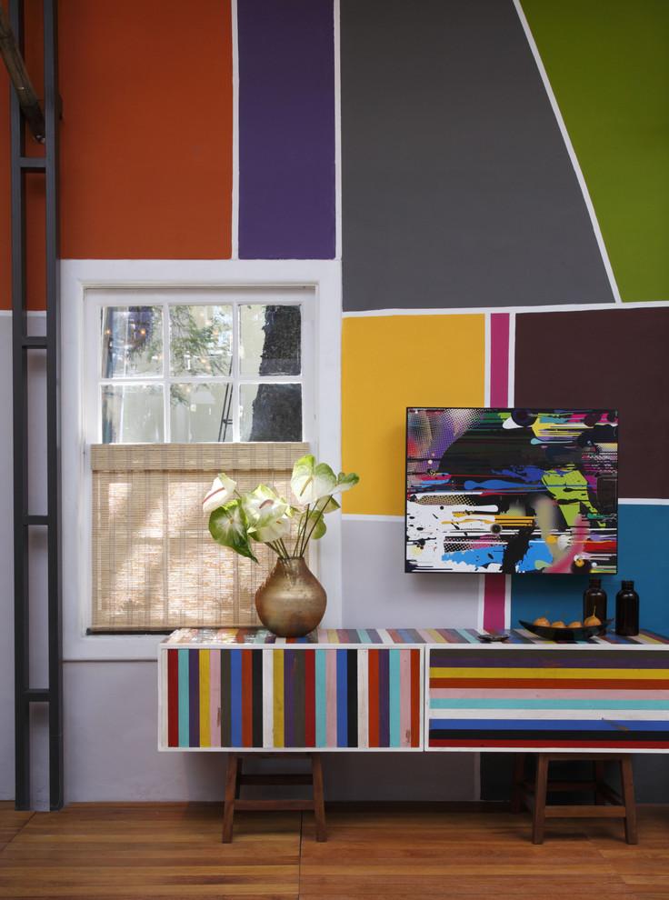 wall decorating ideas for living room color blocking wall hardwood floors sideboard artwork window blind modern design