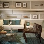 Wall Decorating Ideas For Living Room Grey Walls Vintage Photographs Sidetables Glass Top Table Rattan Chair Sofa Carpet Ceiling Lights Candle Holder Tropical Design
