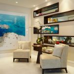 wall decorating ideas for living room painting built in shelf chairs sidetable ceiling lights white floors contemporary design