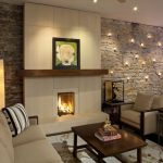 wall decorating ideas for living room sofa chairs fireplace accent wall ceiling lights table tufted ottoman floor lamp contemporary design