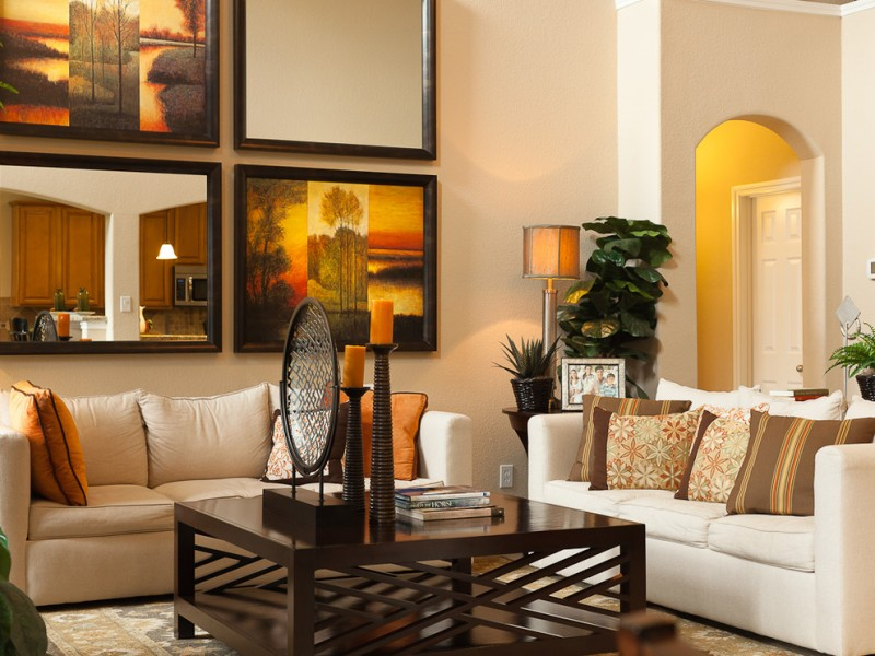 wall decorating ideas for living rooms table sofa pillows mirror painting books lamp decorative plants contemporary living room