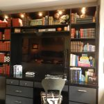 wall units with desk chair laptop tv bookshelves books drawers wall decor lamps contemporary home office