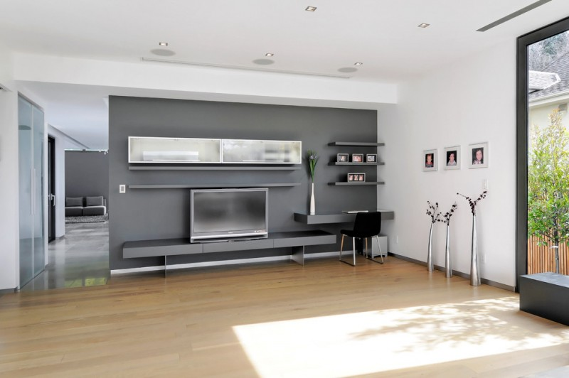wall units with desk tv shelves chair light coloured floor contemporary family room