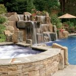 Waterfalls For Pools Spa Area High Vertical Stone Waterfall Cream Market Outdoor Umbrella Iron Pool Chairs And Table