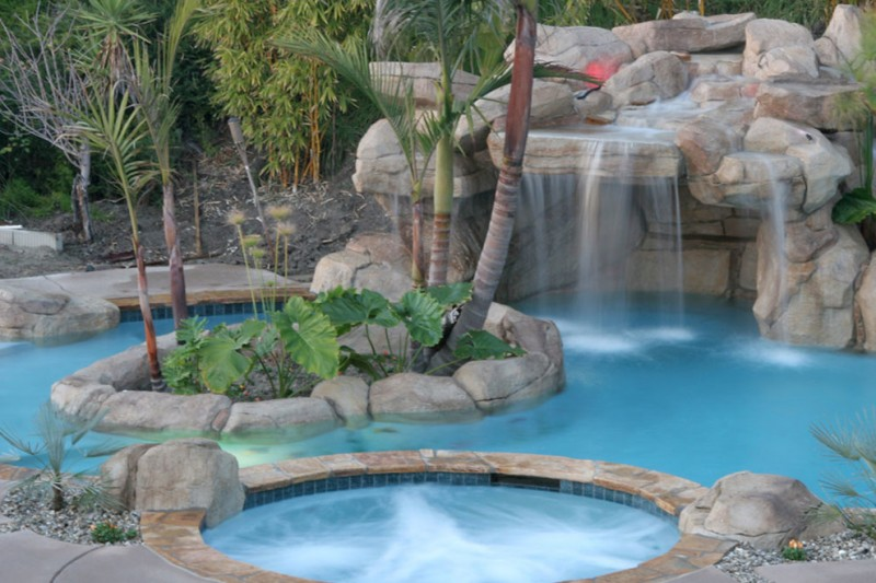 waterfalls for pools tropical swimming pool nice stone waterfall small hot tub small island with tropical plants blue pool tiles