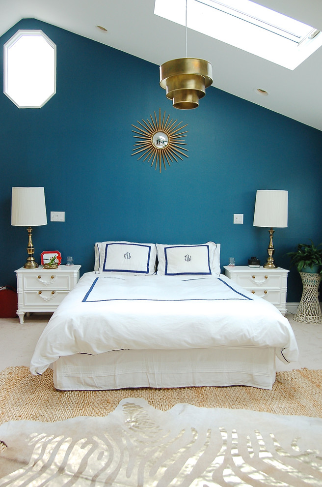 white bedding idea with decorative blue lines dark blue walls decorative interior window small sized skylight white ceramic floors white finished wood bedside tables