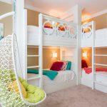 White Painted Loft Beds White Hainging Chair Yellow Pillow Throw Cream Wall Beige Rug Wall Art Work