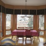 Window Treatment Ideas For Bay Windows Willow Privacy Windows Film Patterned Valances Traditional Dining Table Set