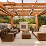 Wood Pergola Idea With Outdoor Lighting Fixtures Patio Heater A Set Of Rattan Made Furniture With Puff Comforters Concrete Tiles Floors