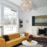Yellow Sofa White Coffee Table Pendant Light Floor Lamp Wooden Long Cabinet Metal Fireplace Wall Decoration Floor To Ceiling Window