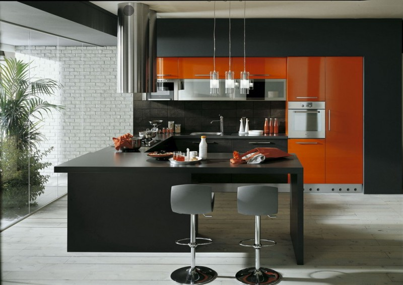 all in one kitchen units circular stainless steel island hood electic convection oven black and orange kitchen cabinet built in kitchen island