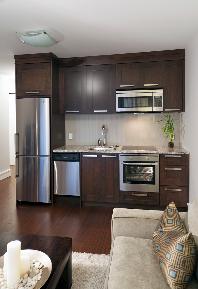 all in one kitchen units frigidaire dishwasher stainless steel sink and faucet built in oven microwave maple cabinet smaller stove electric stovetop