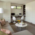 Apartment Living Room Ideas Metal Tripod Floor Lamp Saarinen Tulip Armless Chair Felix Coffee Table Serving Tray Built In Shelf Grey Rug Couch