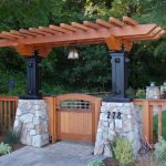 Arbor Stone Pillar Cedar Craftsman Fence Arbor Light Gate