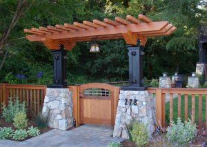 arbor stone pillar cedar craftsman fence arbor light gate
