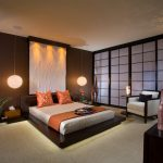 Asian Themed Bedroom Hard Coral Sculpture Led 1 Light Cord Hung Pendant Full Carpet Floor Wood Decoration Sliding Doors Nice Bed Panel
