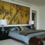 Asian Themed Bedroom Square Poly Fiber Surya Pillow Antique Wooden Bench Gold Leaf Art Panels Black Headboard And Side Table