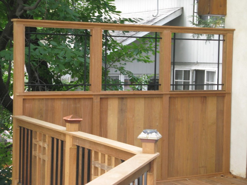 back yard deck cedar fence window frame