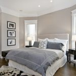 Bed Frame With Light Taupe Headboard White Ceilings Dark Hardwood Floors Window Glass With White Frames Dark Finished Wood Bedside Tables