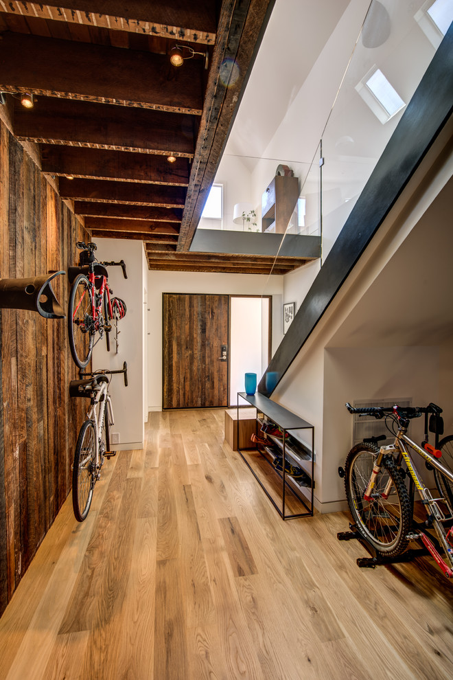 bike storage apartment under staircase bicycle storage wooden bike rack bike storage wall mounted bike rack hardwood flooring glass staircase railings